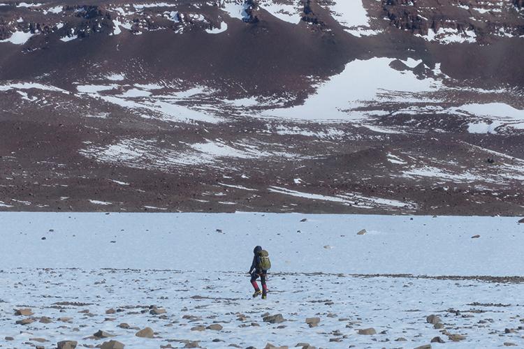 A researcher treks across a field in Antarctica.