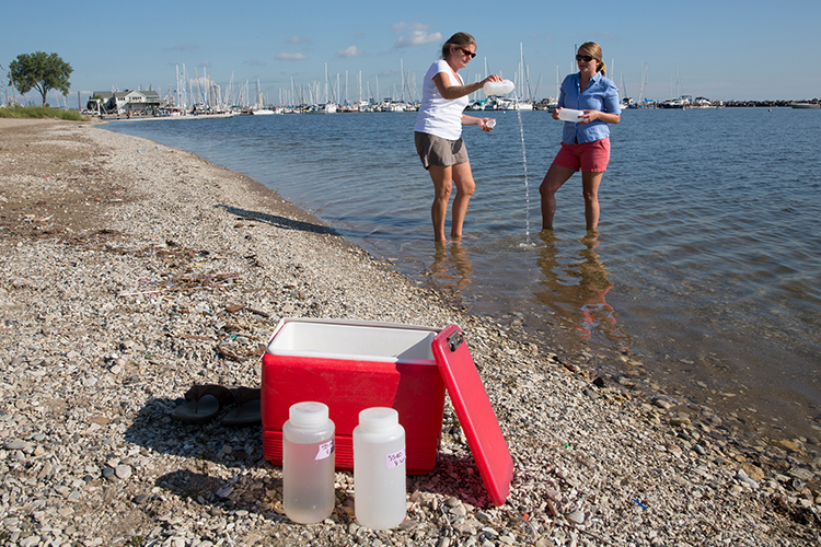 UWM researchers take water samples.