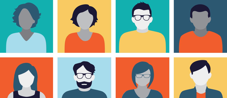 Illustration showing eight avatars