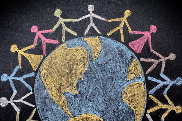 Chalkboard illustration of people holding hands