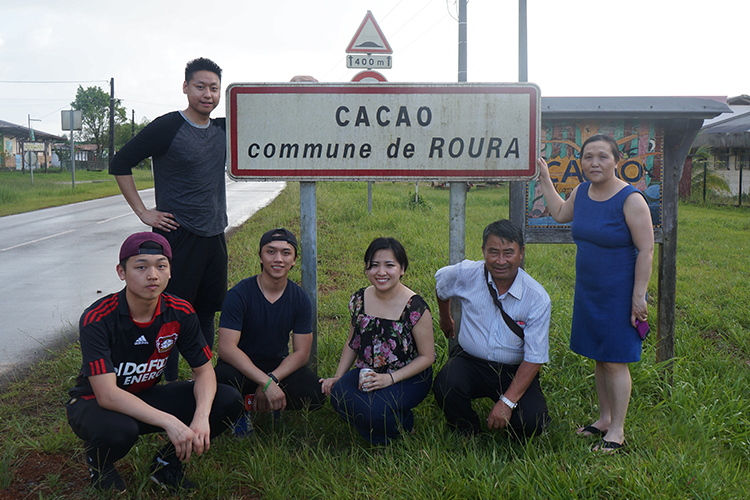 Vang and some of her students in Cacao, French Guiana.