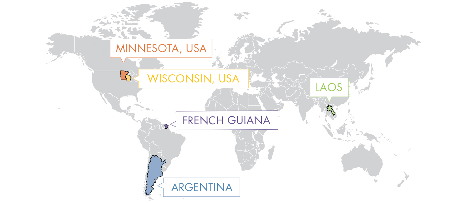 World map indicating the locations of Minnesota, Wisconsin, French Guiana, Argentina and Laos