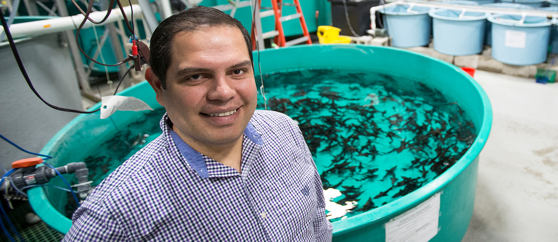 Osvaldo Jhonatan Sepulveda Villet standing next to a tank of fish