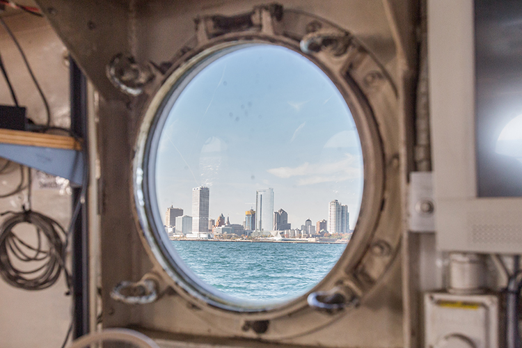 View of Milwaukee skyline from boat portal