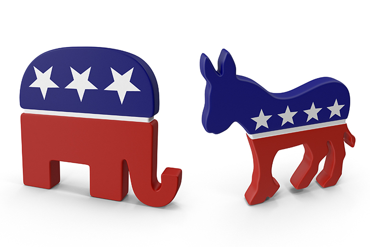 Graphic of republican party elephant and democratic party donkey