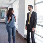 Simrah Awan talking to Michael Freimark