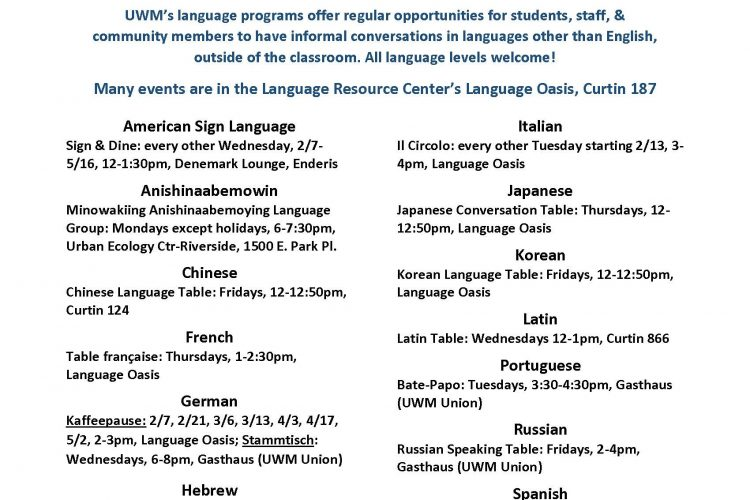 Exceptionnel Language Tables And Informal Conversation Hours