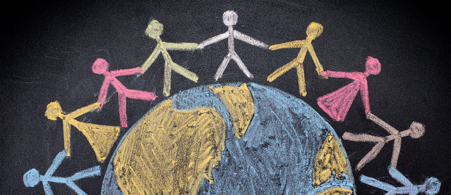 Chalkboard illustration of people holding hands