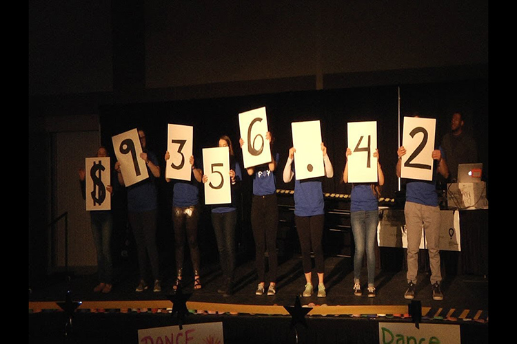 Students hold up cards showing the dance event raised $9,356.