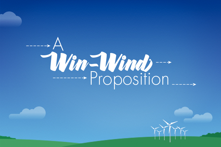 Graphic showing blue sky and wind turbines