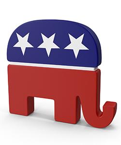 elephant colored like American flag.
