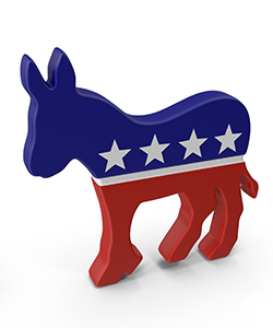 Donkey colored like American flag.