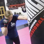 Leah Letson jabbing at a heavy bag as part of her training.