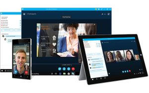 A skype video conversation displayed in a desktop browser window, on a tablet and on a smartphone