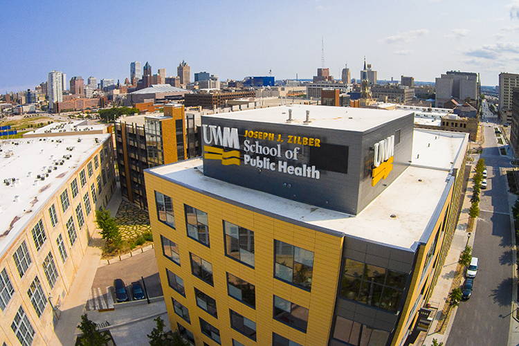 Photo shows the outside of the Zilber building from above.