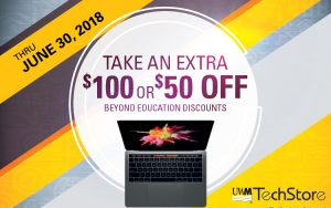 "A laptop below the caption ""June 30, 2018: Take an extra $100 or $50 off beyond education discounts."""