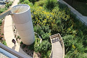 An overhead perspective on the garden shows a path and a cistern.