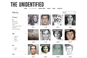 A screenshot of the website shows several images of missing people.