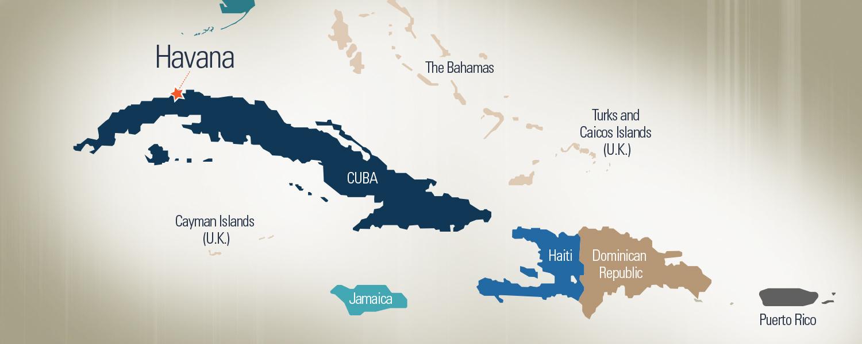 A map of Cuba