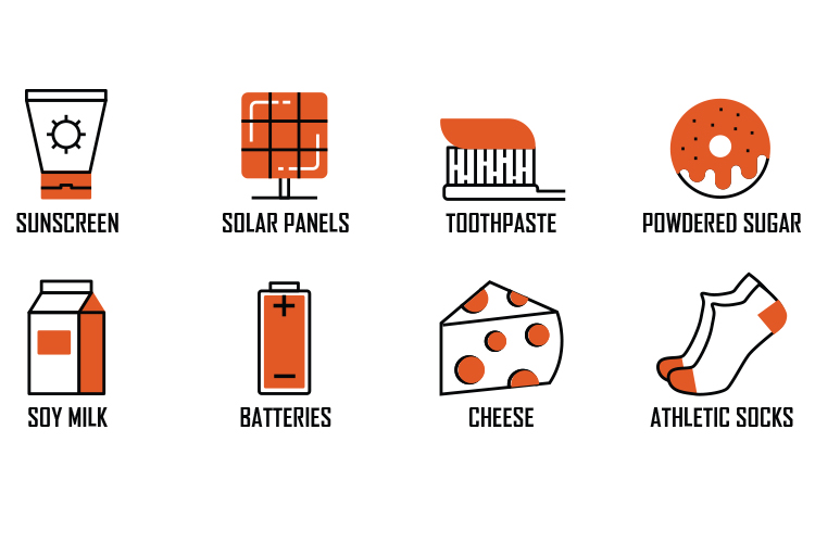 Eight graphics of products that include nanomaterials, including toothpaste and cheese.
