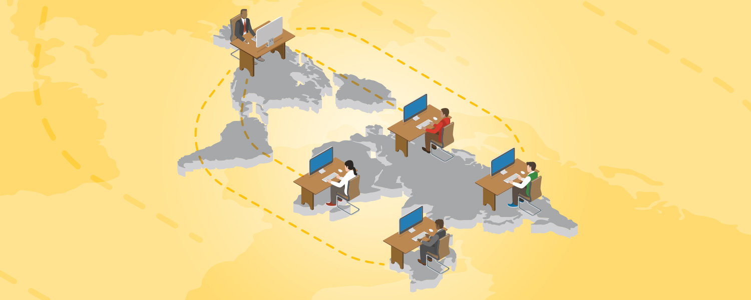 Illustration of company outsourcing work abroad
