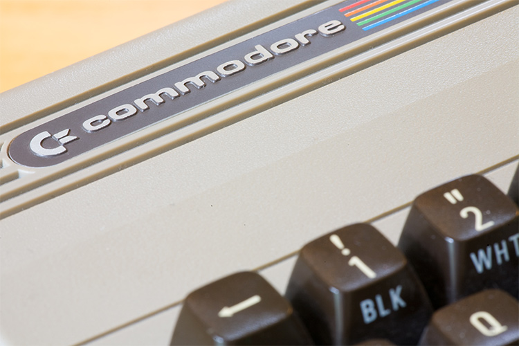 Closeup image of Commodore 64 8-bit computer