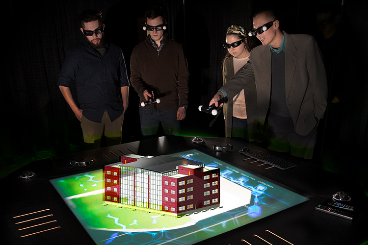 UWM engineering students use holotable