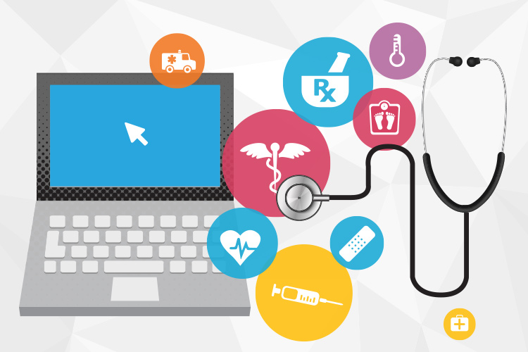 Graphic of computer with medical icons