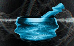 Photo illustration of Tibetan singing bowl against a background of sound waves