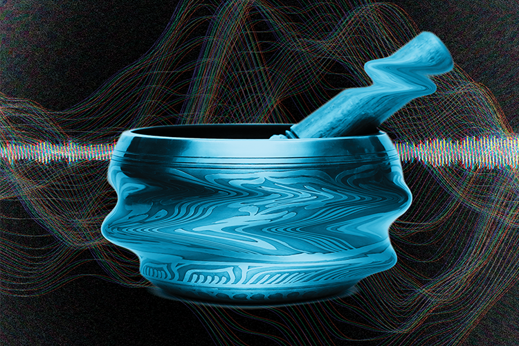 Photo illustration of Tibetan singing bowl against a background of sound waves