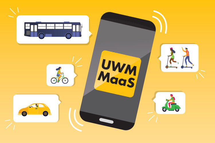 Illustration of a smart phone with UWM MaaS app and examples of public transit it would show