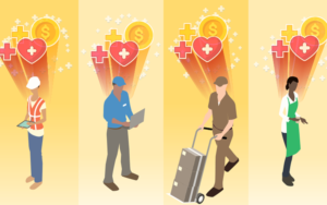 Illustration of different types of workers with heart and money signs above their heads