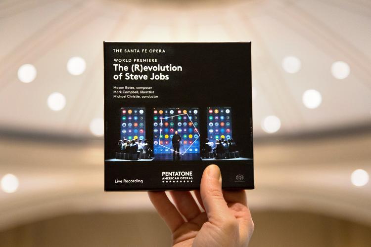 Hand holding up The (R)evolution of Steve Jobs opera album
