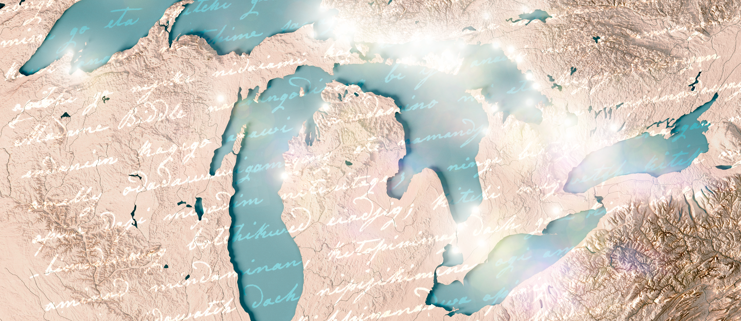An illustration of indigenous writing overlaid on map of the Great Lakes