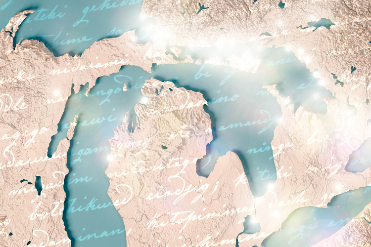 An illustration of indigenous writing overlaid on a map of the Great Lakes