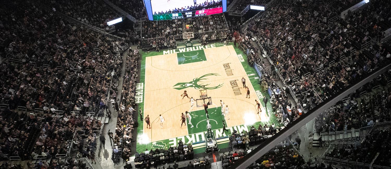 Overhead shot of Milwaukee Bucks basketball game