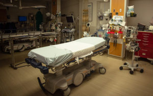 Photo of a hospital bed in an emergency room