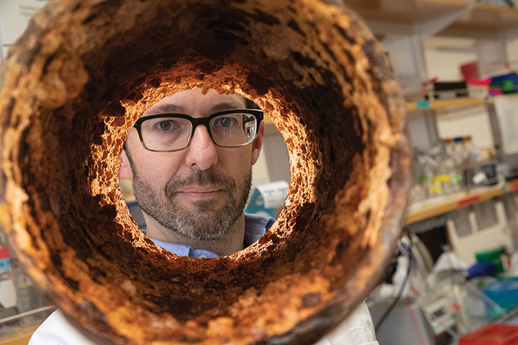 UWM professor Ryan Newton looks through sewer pipe segment.