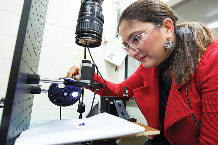 Professor Masha Ranji looks at cells with fluorescent imaging tech