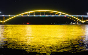 Hoan Bridge lit up gold