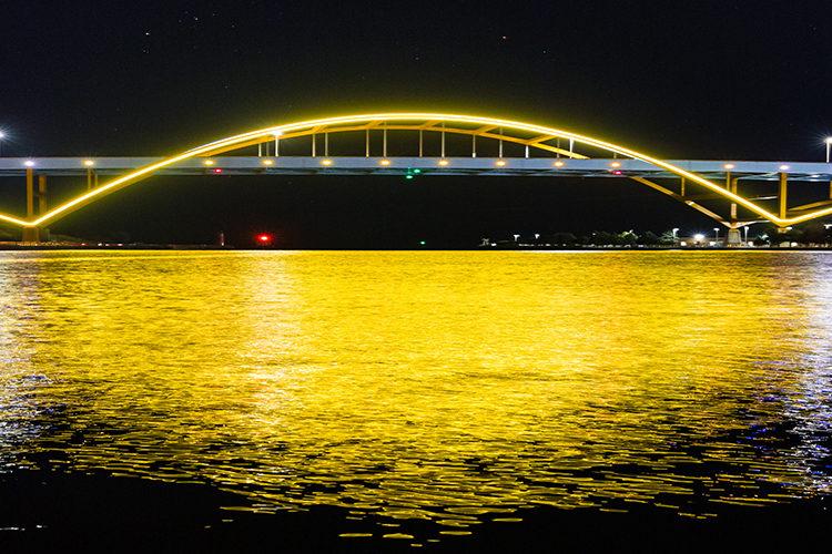 Hoan Bridge lit up gold