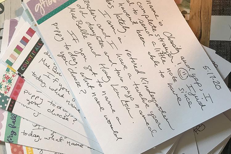 Reverse side of hand-written postcard message