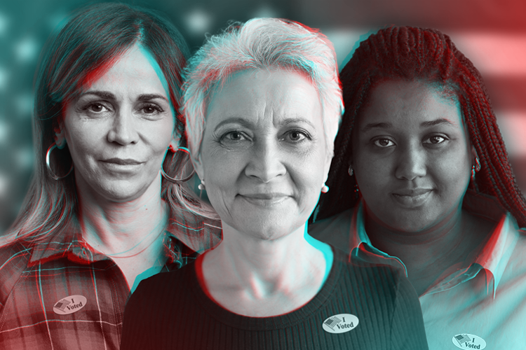 Photo illustration of three women against tinted background of American flag