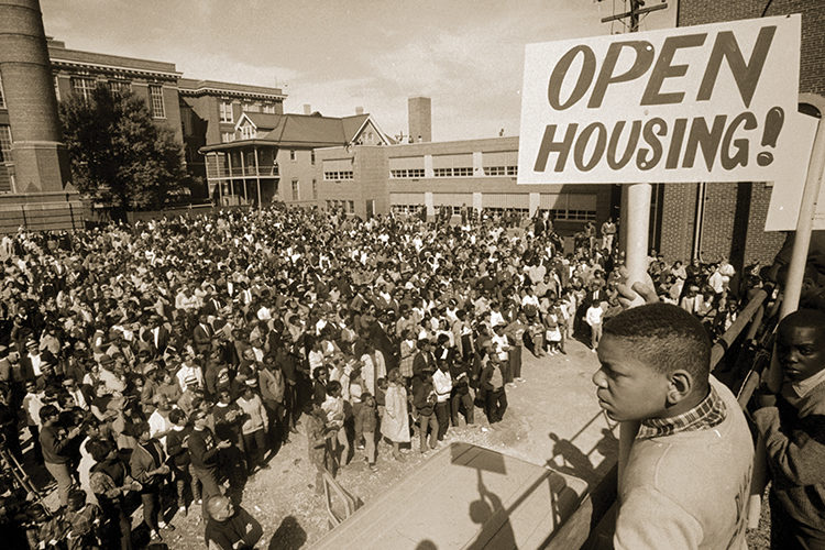 A rally outside a church Milwaukee in the 1960s.