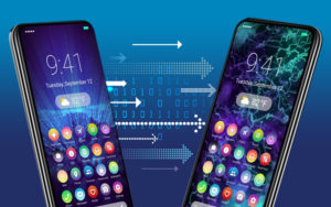 Photo illustration of two cell phones.