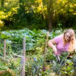Student working in campus garden