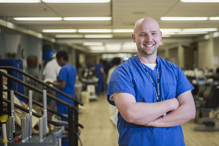 College of Health Sciences alum John Kuhn works as an inpatient physical therapist at the Clement J. Zablocki VA Medical Center in Milwaukee.