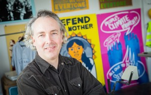Nicolas Lampert, a senior lecturer in art and design, uses art to enhance campaigns for environmental and social justice.