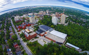 The UWM campus looks great — whether you are on the ground or up above. (UWM Photo/Derek Rickert)