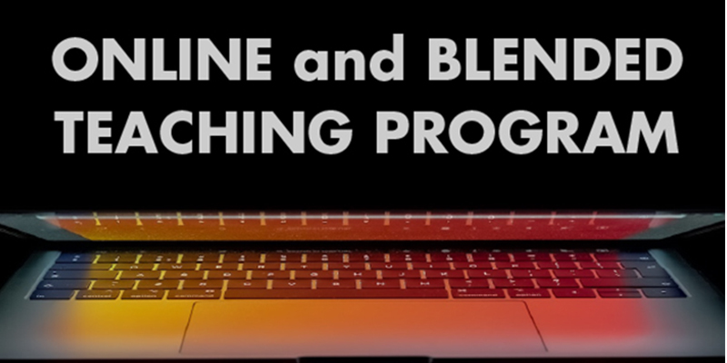 Online and Blended Teaching Program in Bold Print over a half-closed laptop